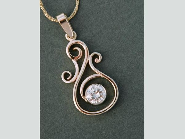 Scroll pendant with chain